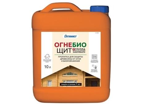Пропитка ОГНЕ-БИОЩИТ для защиты древесины от огня и биопоражения для наружных и внутренних работ